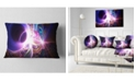 "Design Art Designart Glowing Purple Design On Black Abstract Throw Pillow - 12"" X 20"""