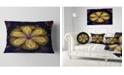 """Design Art Designart Black Yellow Fractal Flower Pattern Contemporary Throw Pillow - 12"""" X 20"""""""