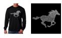 LA Pop Art Men's Word Art Long Sleeve T-Shirt- Mustang