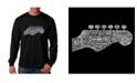 LA Pop Art Men's Word Art Long Sleeve T-Shirt - Guitar Head