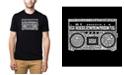LA Pop Art Men's Premium Word Art T-Shirt - Greatest Rap Hits of The 1980's