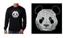LA Pop Art Men's Word Art Long Sleeve T-Shirt- Panda Head