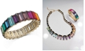 INC International Concepts INC Gold-Tone Multicolor Baguette-Stone Stretch Bracelet, Created For Macy's