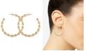 "GUESS Medium Gold-Tone Ball Station Hoop Earrings 1-1/2"""