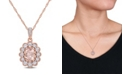 """Macy's Morganite (3/4 ct. t.w.) White Sapphire (5/8 ct. t.w.) and Diamond (1/10 ct. t.w.) Floral 17"""" Necklace in 10k Rose Gold"""