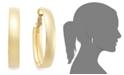 Italian Gold Omega Back Hoop Earrings in 14k Gold