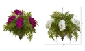 Nearly Natural Phalaenopsis Orchid and Fern Artificial Plant in Metal Hanging Bowl