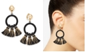 INC International Concepts INC Gold-Tone Velvet Hoop & Tassel Clip-On Drop Earrings, Created For Macy's