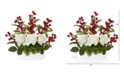 "Nearly Natural 12"" Rose and Holly Berry Artificial Arrangement in White Vase"