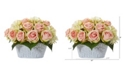 Nearly Natural Rose and Hydrangea Artificial Arrangement in Decorative Vase