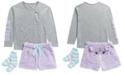 Max & Olivia Big Girls 3-Pc. Unicorn Top, Faux-Fur Shorts & Socks Pajama Set