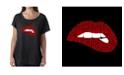 LA Pop Art Women's Dolman Cut Word Art Shirt - Savage Lips