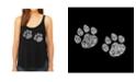 LA Pop Art Women's Premium Word Art Flowy Tank Top- Meow Cat Prints