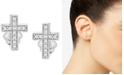 Wrapped Diamond Cross Stud Earrings (1/10 ct. t.w.) in 14k White Gold, Created for Macy's
