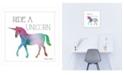 "Trendy Decor 4U Ride a Unicorn by SUSAn Ball, Ready to hang Framed print, White Frame, 14"" x 14"""