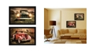 """Trendy Decor 4U Vintage-Like Trucks Collection By Robin-Lee Vieira, Printed Wall Art, Ready to hang, Black Frame, 40"""" x 14"""""""