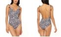 Jessica Simpson Cool Cat Printed Tassel Tie One-Piece Swimsuit