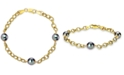 Macy's Cultured Tahitian Pearl (8mm) Link Bracelet in 18k Gold-Plated Sterling Silver
