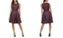 Tommy Hilfiger Petite Belted Jacquard Fit & Flare Dress