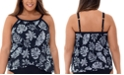 Swim Solutions Plus Size Spotted Leaves Printed Cross-Over Underwire Tankini Top, Created for Macy's