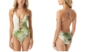Vince Camuto Tropical Palm Printed Plunging V-Neck One-Piece Swimsuit