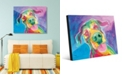 """Creative Gallery Jesse Smiling Dog on Blue Purple Abstract 24"""" x 36"""" Acrylic Wall Art Print"""
