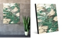 "Creative Gallery Paint Swipe Teal Green White Abstract 24"" x 36"" Acrylic Wall Art Print"