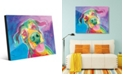 Creative Gallery Jesse Smiling Dog on Blue Purple Abstract Acrylic Wall Art Print Collection