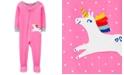 Carter's Baby Girls Dot-Print Unicorn Footed Pajamas