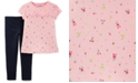 Carter's Toddler Girls 2-Pc. Floral-Print T-Shirt & Denim Leggings Set