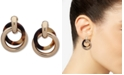 Lauren Ralph Lauren Gold-Tone & Tortoise-Look Circle Clip-On Drop Earrings