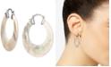 """Macy's Mother-of-Pearl Medium Hoop Earrings in Sterling Silver, 1-1/4"""""""