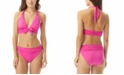 Carmen Marc Valvo Ruched Bow-Front Halter Bikini Top & Shirred Bottoms