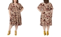 Maree Pour Toi Plus Size Burnout Velvet Floral-Print Wrap Dress