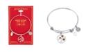 Unwritten Crystal Cherry Tree Flower Bangle Bracelet in Two-Tone Stainless Steel