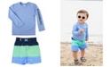 RuffleButts Ruggedbutts Toddler Boys Long Sleeve Rash Guard Swim Trunk Set, 2 Piece
