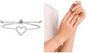Macy's Cubic Zirconia Heart Adjustable Slider Bolo Bracelet in Fine Silver Plate