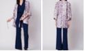 Wanderlux Drawstring Tie Front Printed Kimono