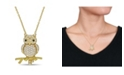 Macy's Created White and Yellow Sapphire (1 1/3 ct. t.w.) Black Spinel Accent Owl Necklace in 18k Gold Over Sterling Silver