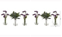 Nearly Natural 10in. Baby Breath and Olive Artificial Arrangement in Vase Set of 3