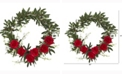 Nearly Natural 21in. Olive, Rose and Cherry Blossom Artificial Wreath