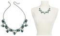 """Charter Club Silver-Tone Crystal, Stone & Imitation Pearl Statement Necklace, 17"""" + 2"""" extender, Created For Macy's"""