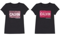 Calvin Klein Big Girls Cotton Flip Sequin T-Shirt