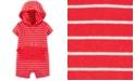 Carter's Baby Boys Hooded Striped Crab-Pocket Cotton Romper