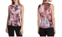 Tahari ASL Floral-Print Ruffle-Front Sleeveless Top