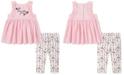 Calvin Klein Toddler Girls 2-Pc. Ruffled Tunic & Floral Leggings Set