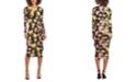 Christian Siriano New York Floral-Print Drape-Front Jersey Midi Dress