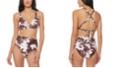 Jessica Simpson Cow-Print Studded Strappy-Back Bikini Top & Cow-Print Studded High-Waist Bikini Bottoms
