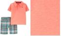Carter's Baby Boys 2-Pc. Neon Polo & Plaid Shorts Set