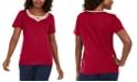 Karen Scott Petite Cotton Lattice-Trim Top, Created for Macy's
